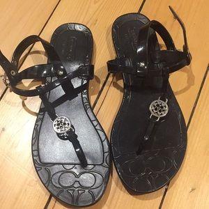 Cute black Coach sandals!
